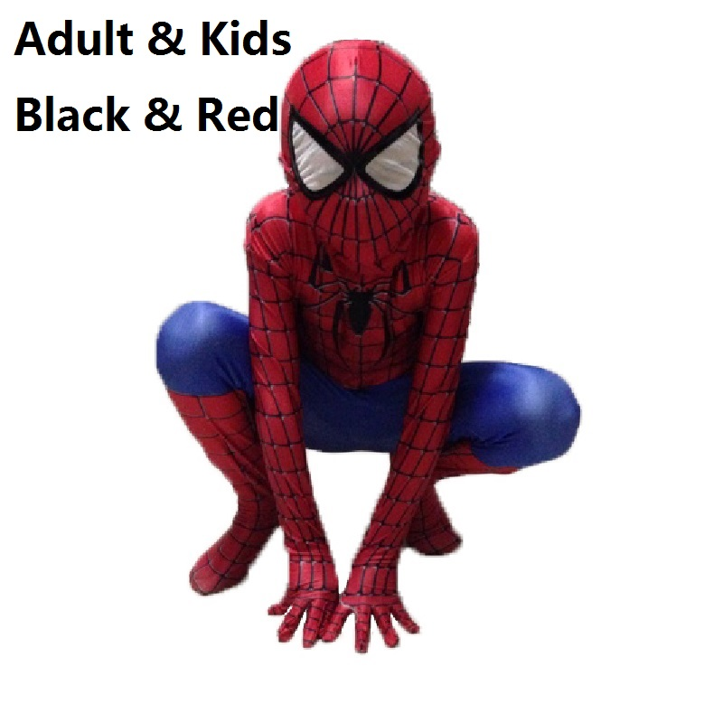 Amazing Spiderman Children Adult Spiderman Costume Spandex Black red Zentai Halloween Cosplay Costumes Suit Boy Kids Spider man