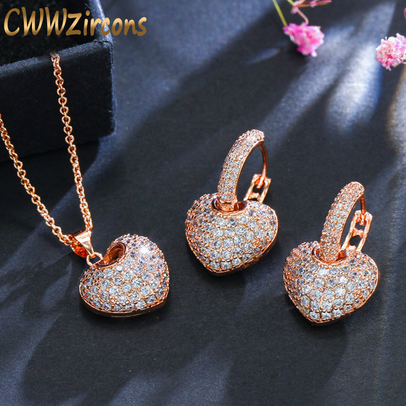 CWWZircons Micro Pave Cubic Zirconia Rose Gold Color Heart Hoop Earrings And Necklace Famous Brand Jewelry Sets For Women T082 pair of charming rhinestone heart hoop earrings for women