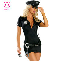Hot Đen Sexy Nữ Công An Trang Phục Halloween Cảnh Sát Cảnh Sát Officer Costume Cosplay Ăn Mặc Audlt Vai Trò Chơi Trang Phục Deguisement Femme