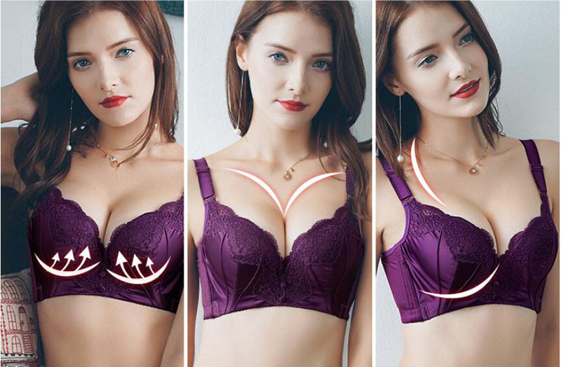 Fikoo Sexy Lace Bras for Women Plus size Brassiere Intimates Female Purple  Black Lace Bra Tops lingerie B C cup 241abc4cf