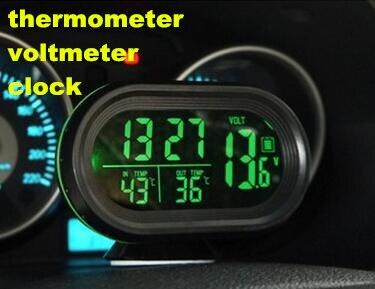 12 V/24 V Monitor Digital Reloj electrónico Auto Termómetro Del Coche Del Voltím