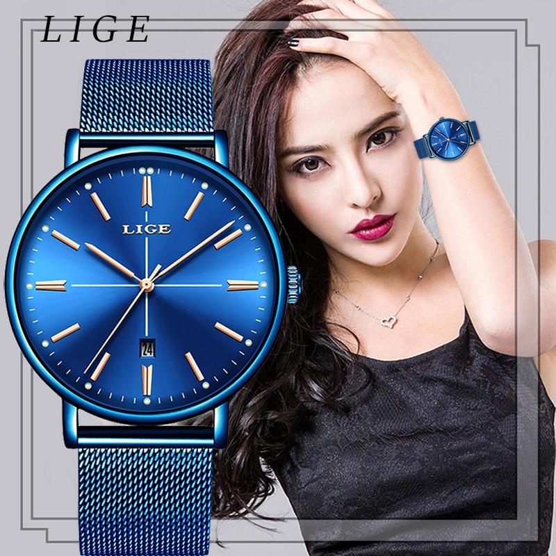 2019 New Blue Women Watch Business Quartz Watch Ladies LIGE Top Brand Luxury Female Wrist Watch Women Girl Clock Relogio Feminin