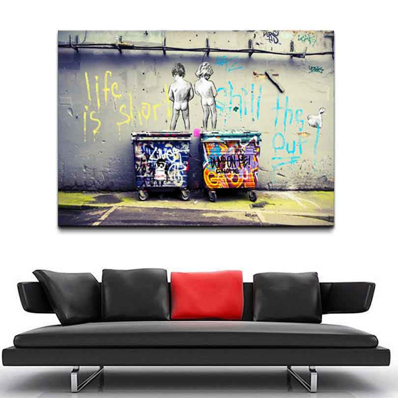 1 Pcs Large Size Banksy Art Life Is Short Chill The Duck Out Cheap Modern Canvas