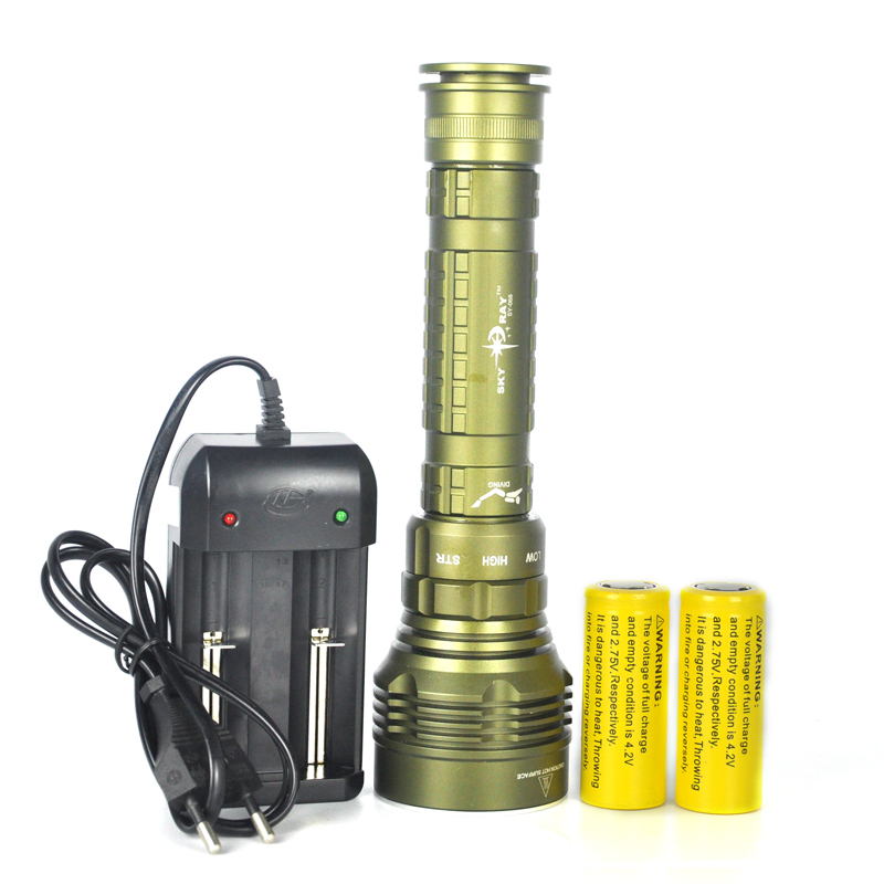 25W 12000 Lumens Scuba Diving 100M 5x XM-L L2 LED Flashlight Torch 5*L2 Diver Lanterna+Charger+3x Rechargeable 26650 Battery 100m underwater diving flashlight led scuba flashlights light torch diver cree xm l2 use 18650 or 26650 rechargeable batteries