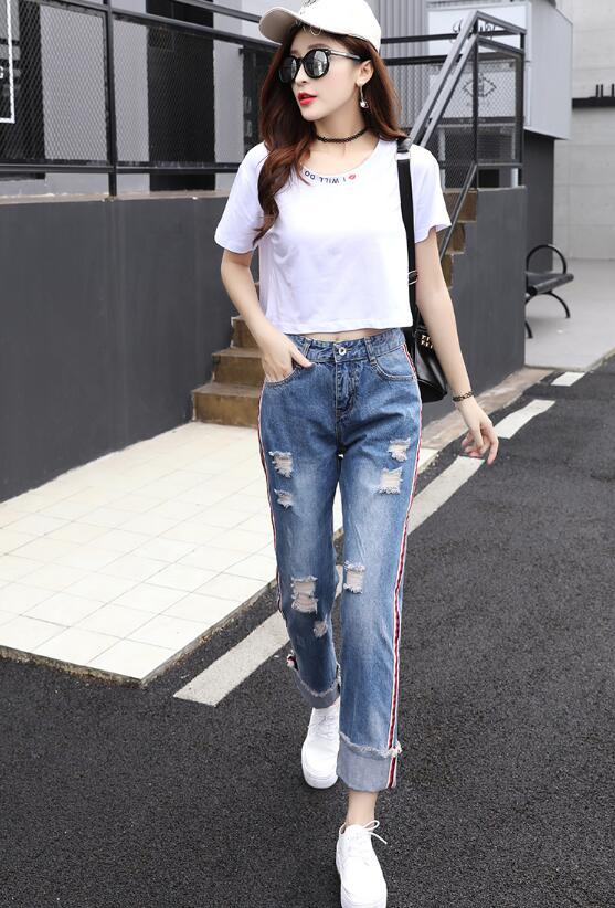 Spring and summer new Korean version of the curling high waist nine points jeans loose loose bf wide feet pants