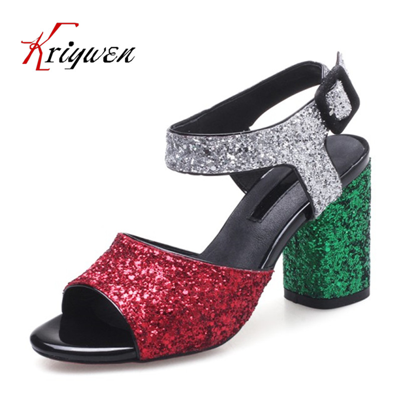 New Glitter sandals for woman 2017 summer club open toe shoes red silver bling sexy lady wedding Fashion womens high heels shoes phyanic bling glitter high heels 2017 silver wedding shoes woman summer platform women sandals sexy casual pumps phy4901