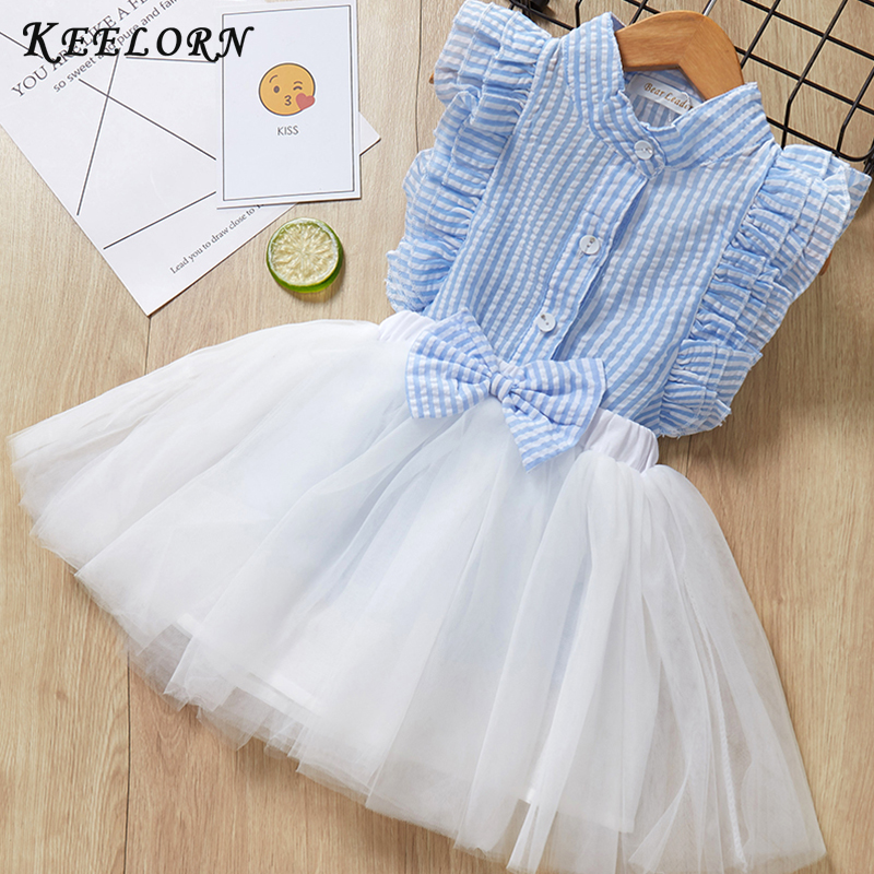 Keelorn Girls Clothing Set 2019 Nya Sommar Girls Kläder Kids Set Fashion T-shirt + Big Bow kort kjol för tjejer barnkläder