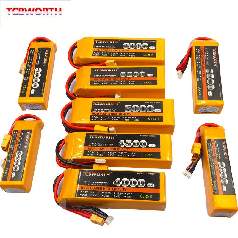 4S Rc Lipo Batteria 14.8V 3000 3300 3500 4200 5200 6000 Mah 25C 35C 60C per Velivoli di Rc drone Aereo Auto Barca 4S Batterie Lipo
