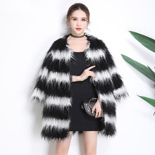 2018 New Fashion Black and White Striped Faux Fur Coat N36