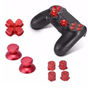 Image 3 - 金属アナログジョイスティックサムスティックグリップキャップ + dpadアクションd パッドボタンプレイステーションデュアルショック4 PS4 DS4ゲームパッドコントローラ