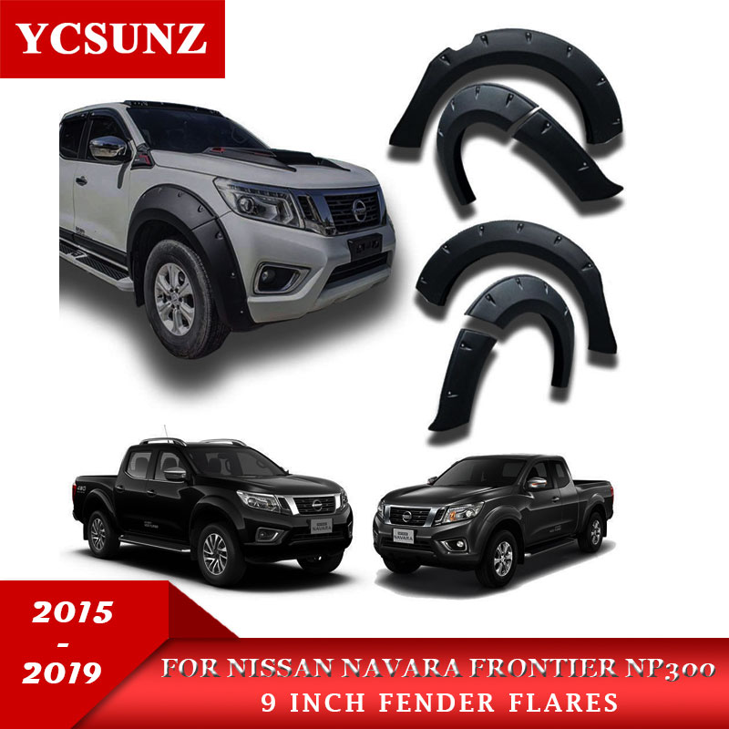 9 Inch fender flare For Nissan Navara Frontier 4x4 2015 2019 Mudguard Pocket Rivet Style offroad