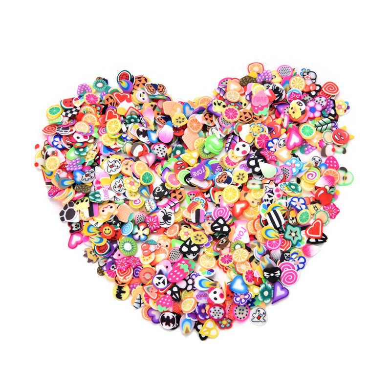 1000 Buah/Bungkus DIY 3 Mm 3D Bunga Buah Bulu Desain Irisan Kecil Polimer Clay DIY Mainan Anak Perempuan Stiker Gadis Hadiah