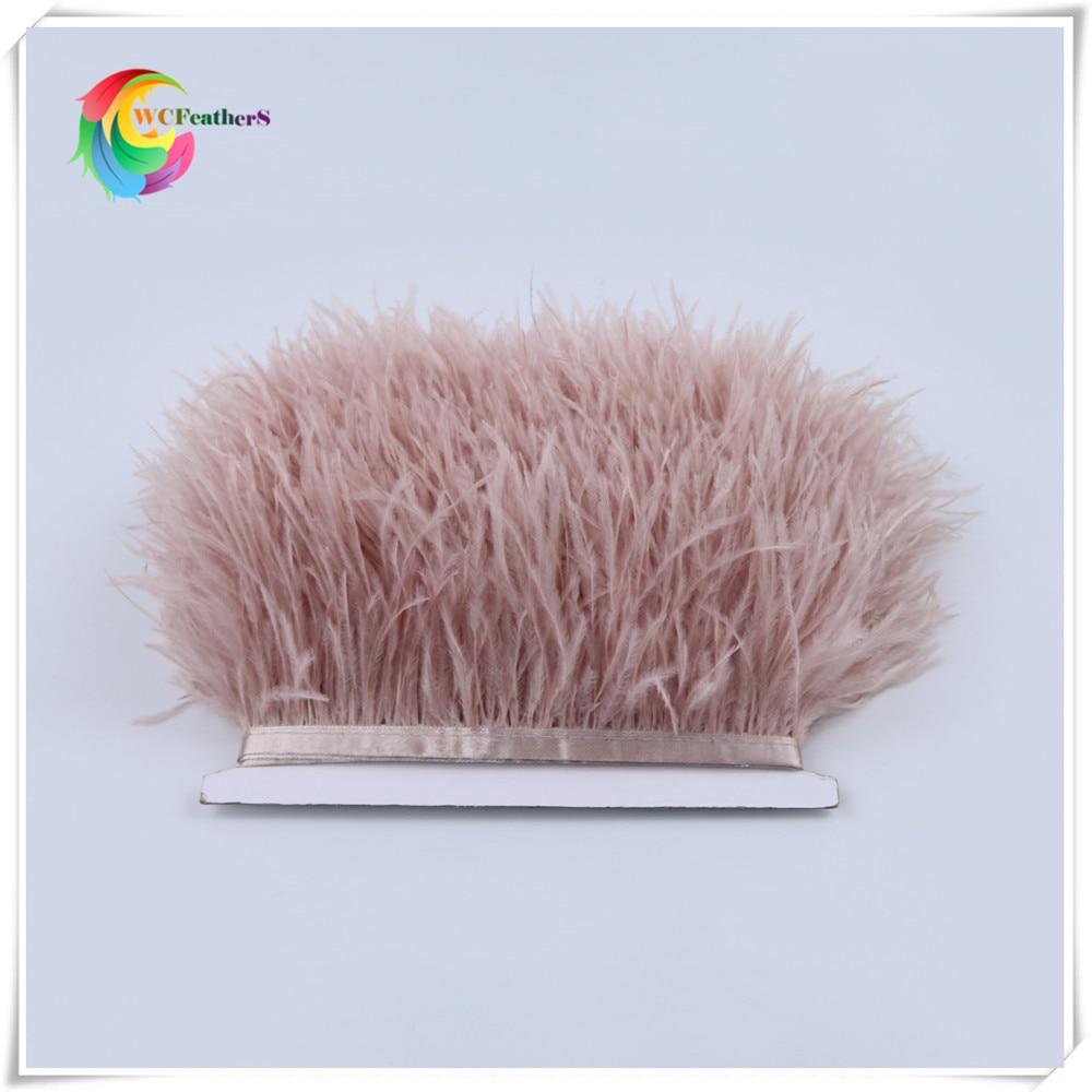 1 метр 32 цвета обрезки из натуральных перьев страуса высота 8-10 см Перья ленты для DIY свадьба на праздник, украшение для платья Ремесло - Цвет: O25 Leather Pink