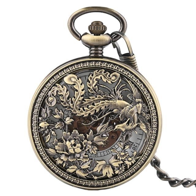 Beautiful Phoenix Mechnical Pocket Watch Charm Lucky Pendant Flower Carving Auto