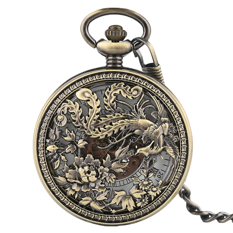 Vintage Phoenix Mechnical Pocket Watch For Men Women Charm Flower Carving Auto Watches Lucky Pendant Unisex Special Gifts