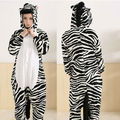 Lovely Hooded Footed Zebra Pajamas Unisex Adult Cosplay Costumes All in one Sleepsuit Sleepwear Pajamas Free Shipping