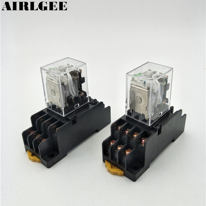 2Set HH54PL 24VDC 4PDT 14Pin Green LED Indicator DIN Mount Mini Power Electromagnetic Relay With PYF14A Socket  Free Shipping цена и фото