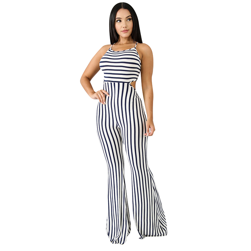 rompers womens jumpsuit 2018 summer jumpsuit plus size jumpsuits Striped strappy long jumpsuits sexy romper womens clothing