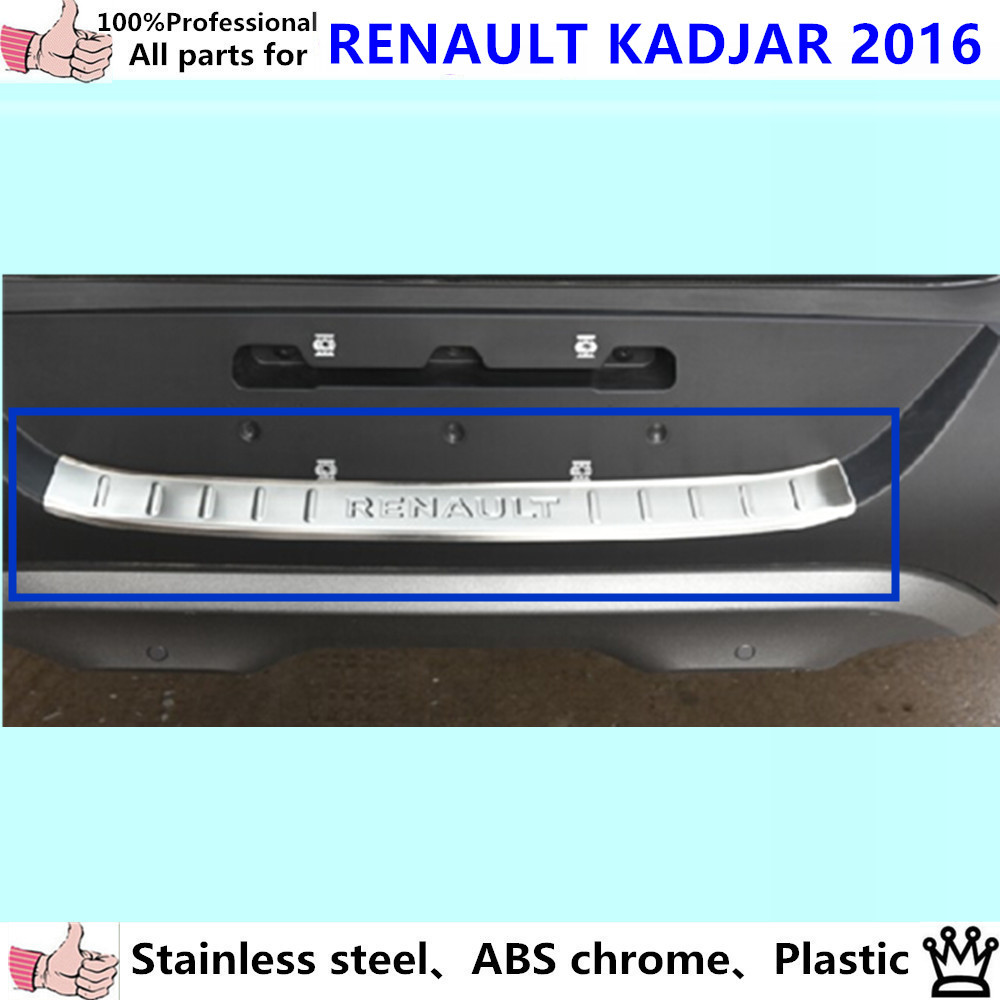 High Quality Car outside external Rear Bumper trim Stainless Steel Scuff Sill trunk plate pedal 1pcs for Renault Kadjar 2016 car rear trunk security shield cargo cover for volkswagen vw tiguan 2016 2017 2018 high qualit black beige auto accessories