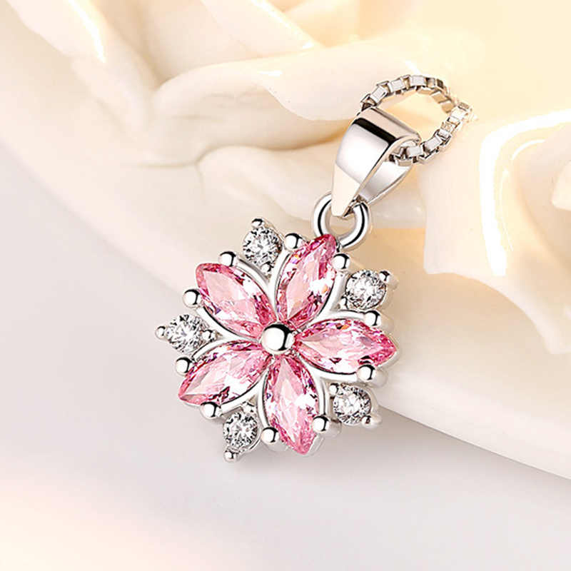 Fashion 925 Sterling Silver Flower Pendant Necklace Women Pink White Cubic Zircon Crystal Long Chain Necklace 925 Silver Jewelry