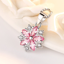 Fashion 925 Sterling Silver Flower Pendant Necklace Women Pink White Cubic Zircon Crystal Long Chain Necklace 925 Silver Jewelry 3 4mm long fresh water pearl necklace multi layers 925 sterling silver with cubic zircon flower party necklace fashion jewelry