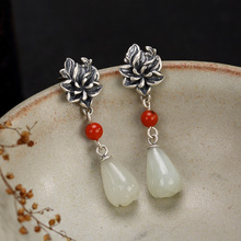 цена 2018 Hot Sale Special Offer Anniversary Brinco Pure Natural Hetian Jade Magnolia Flower South Mosaic Ancient Earrings Wholesale онлайн в 2017 году