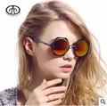 Hot New Retro Round Metal Sunglasses Female Fashion Sunshades UV Bright Reflective Sunglasses