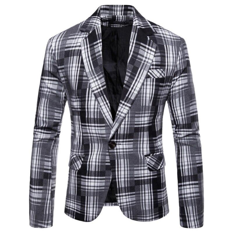 дешево!  Пиджак европейский код осень новая мужская мода повседневная решетка маленький костюм мужской пуго�