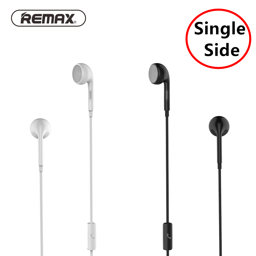 Remax Dynamic single side earphone with mic Flat ear design Monaural business AUX music Wired Control for xiaomi samsung 3.5mm