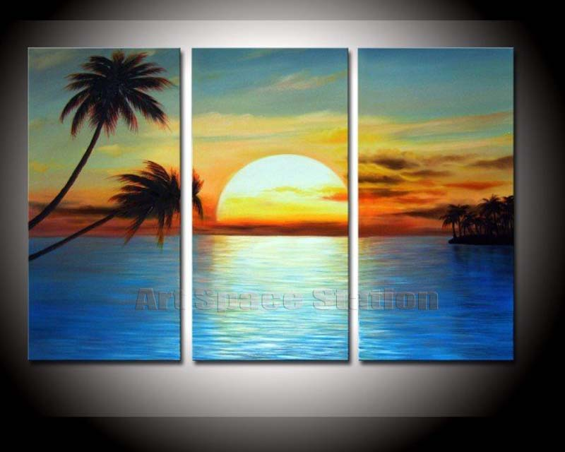 No Frame Modern Home Decor Sunset Beach Sea Oil Painting by Hand painted on CANVAS Palm Tree Seascape Picture Decorative Art 3PC