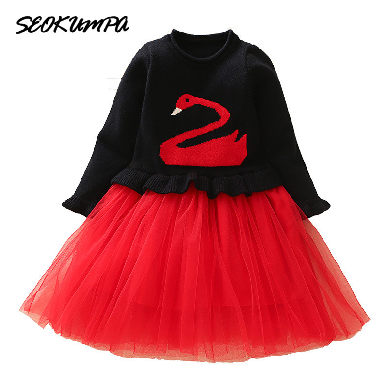 Little Girls Cute Dress Long Sleeve Autumn Winter Dress Size 3 4 5 6 7 8 9 Years Old Kids Girls Princess Party Knit Dress 2 3 4 5 6 7 8 years girls dress thick velvet autumn winter kids dresses for girls ruffles long sleeve children princess clothing