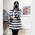Women's Winter Jacket Real Rex Rabbit Fur Car Coat customized good quality fur clothes with stripe