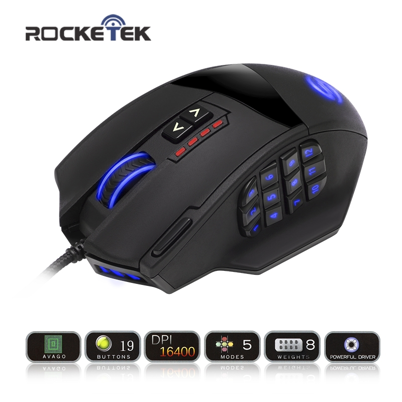 Rocketek 50 to 16400 DPI High Precision Laser MMO Gaming Mouse for PC,18 Programmable Buttons [Compatible with Windows 10] мышь trust gxt166 mmo laser gaming black usb