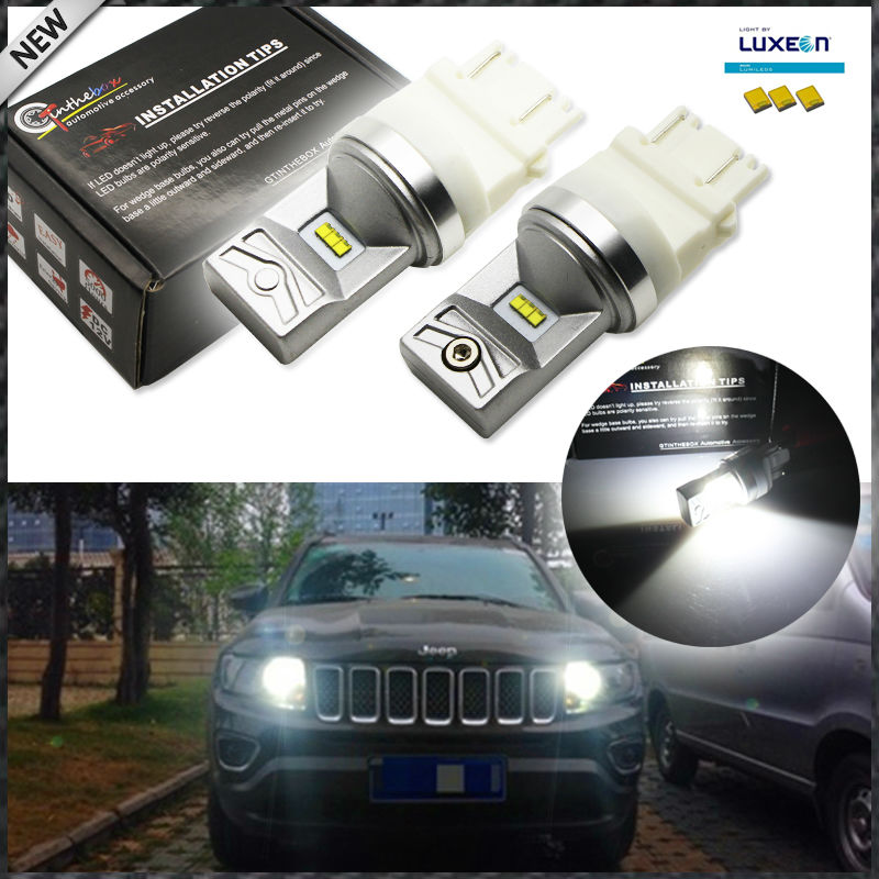 6000K white 6-SMD Powered By Luxen LED 3157 3357 3457 4114 LED Bulbs For 2011-up Jeep Compass For Daytime Running Lights 2x 3157 p27 7w for sharp chips led clearance bulb lamp daytime running lights for 2011