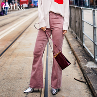 ARTKA 2018 New City Series Fashion Women Skinny Corduroy Full Length Flare Pants 75% Cotton Solid Pink Zipper Pants JK17032