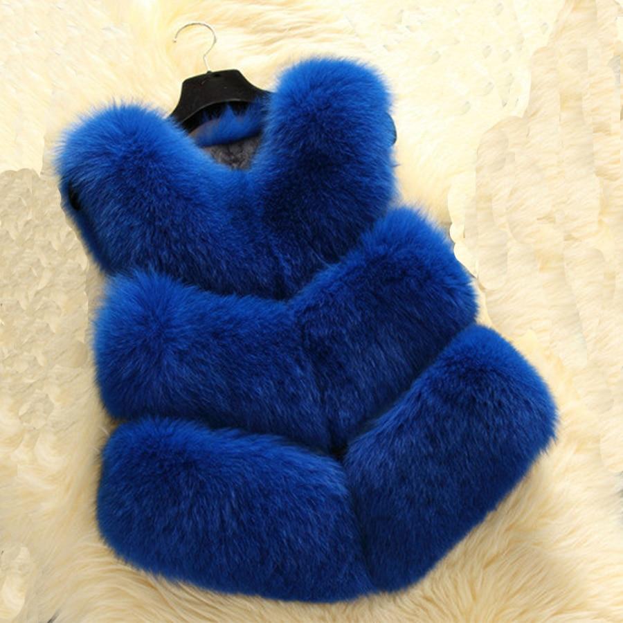 Ladies Fake Rabbit Fur Gilet Faux Fox Fur Vest Natural