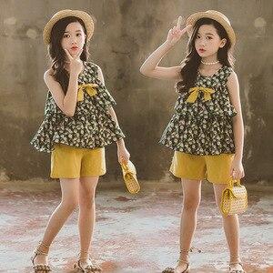 Image 3 - Conjunto de ropa de verano para niñas, Tops y pantalones cortos sin mangas, traje informal, chándal, 6, 8, 10 y 12 años
