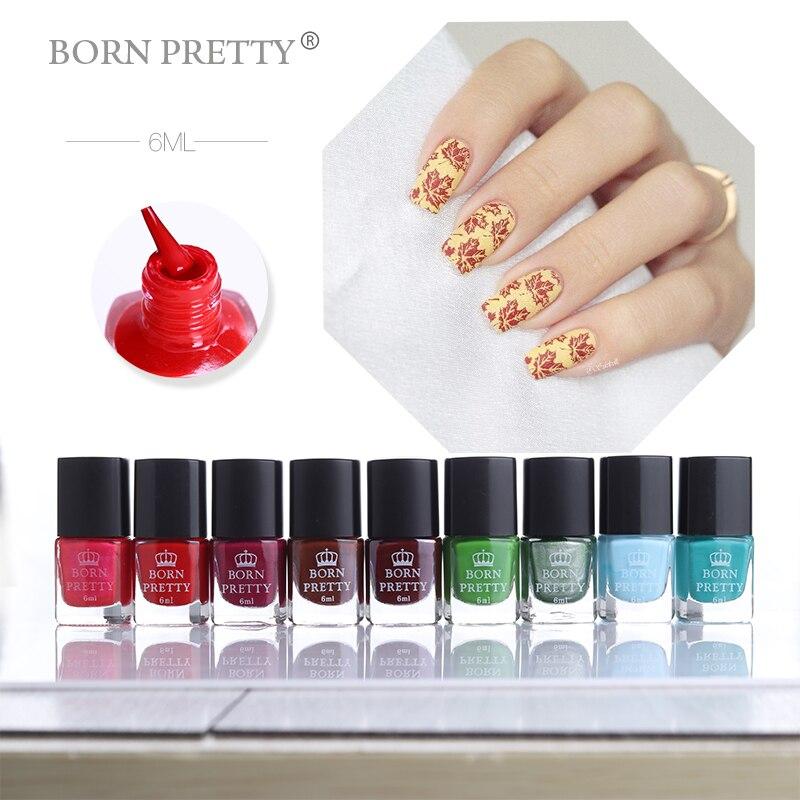 BORN PRETTY 6ml Nail Stamping Polish Colorful Nail Art Stamp Plate Printing Polish Candy Colors Nail Art Varnish Lacquer