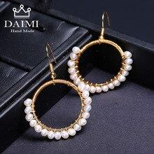 DAIMI Pearl Earrings Gold 3-4mm Dangle Unique Luxury Jewelry Designs Charm Geometric Round Shiny Women