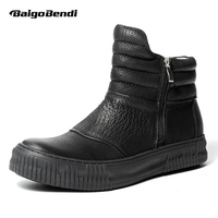 Pure Black Litchi Grain Genuine Leather Mens Winter Boots Zip Ridding Boots Man Trendy Soft Martin