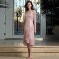 Новый Мать Невесты Вечернее Платье С Кружева Куртка До Колен длина Вечернее Платье Розовый Платья Для Матери Жениха Свадьба
