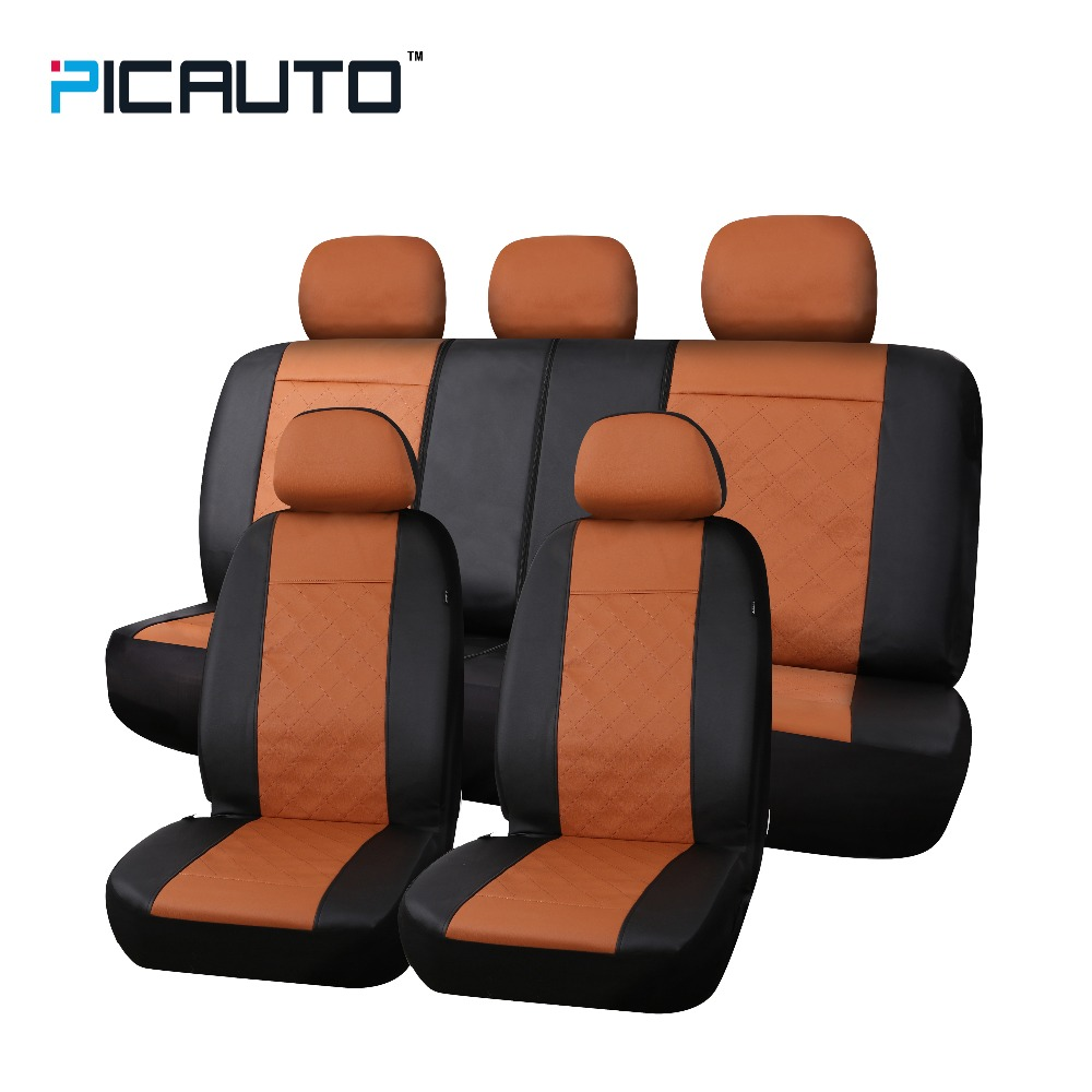 PIC AUTO Car Seat Cover 3D Splicing Technology Premium Quilted Stitched Leather Diamond Pattern Universal Side Airbag Compatible high quality new driver side airbag cover for glk w204 glk300 glk350 airbag cover dab cover with logo