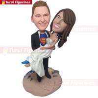Super Hero Groom Save Bride Beach Wedding Cake Topper Custom Personalized Bobble Head Clay Figurine Based on Customers' Photo