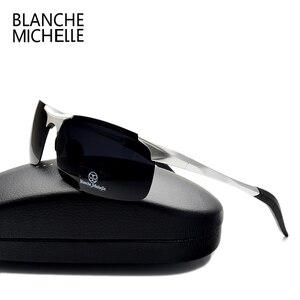 Image 2 - Wysokiej jakości ultralekki aluminium magnezu okulary sportowe spolaryzowane mężczyźni UV400 prostokąt złoty odkryty jazdy okulary
