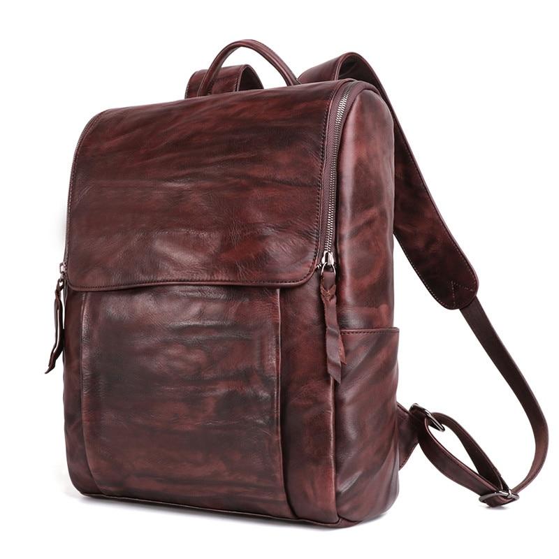 Nesitu High Quality Coffee Vintage Real Skin Genuine Leather 14 15.6 Laptop Men Backpacks Cowhide Male Travel Bags M6390Nesitu High Quality Coffee Vintage Real Skin Genuine Leather 14 15.6 Laptop Men Backpacks Cowhide Male Travel Bags M6390