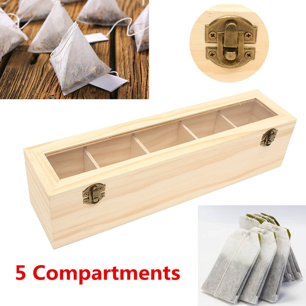 5 Compartments Wooden Tea Box Antique Chest Tin Caddy Holder Glass Lid Pine Wood Kitchen Dry Food Storage Container Organizer