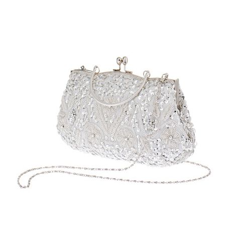 Womens Brand Fashion Polyester Beaded Handbag Wedding Party Prom Clutch Purse Evening Bag for Women Girls(Silver white) купить