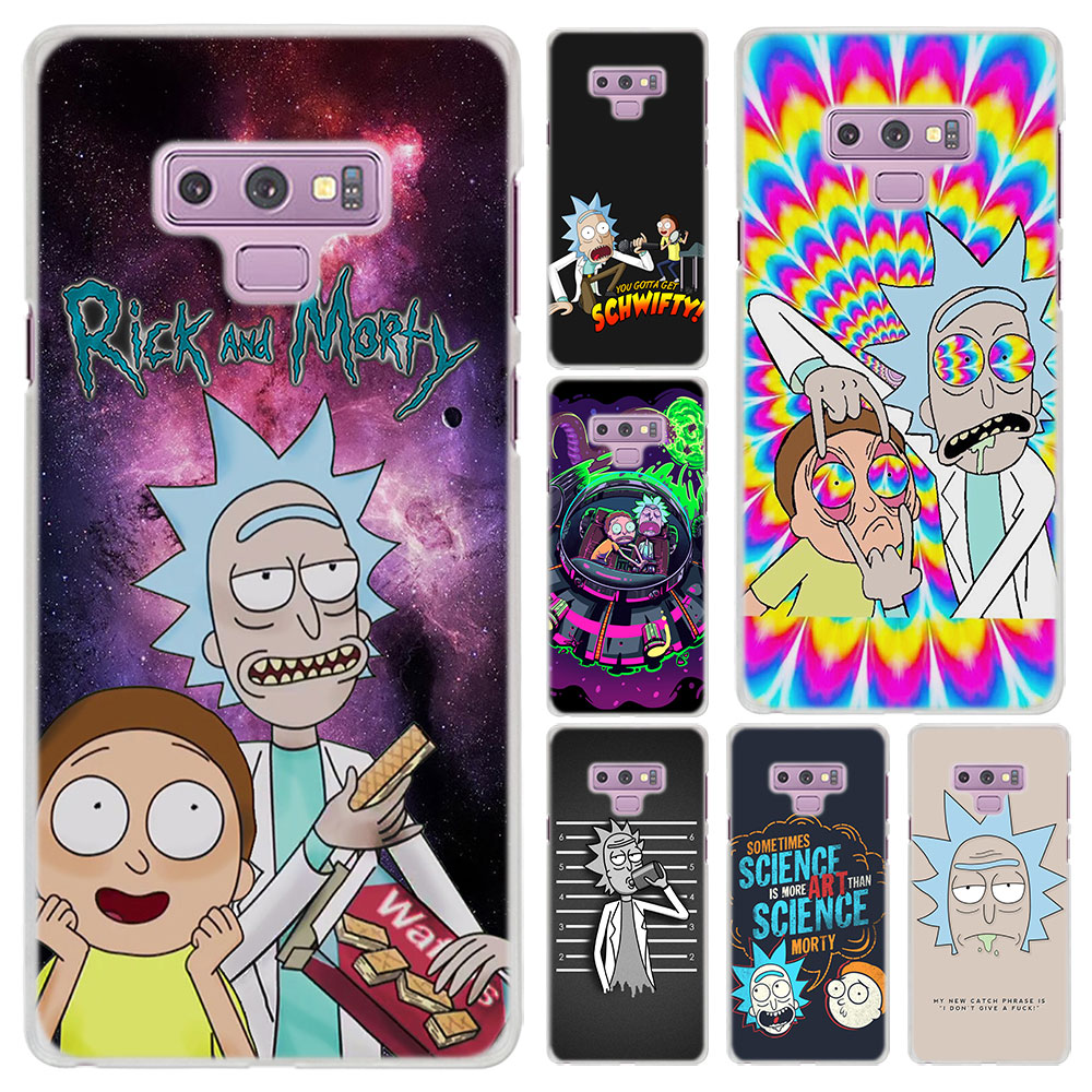 new style 1aa1a 52d0b anime rick and morty Pattern Transparent hard Cover Case for Samsung Galaxy  Note 9 Note 8 Note 5 S8 S9 Plus S6 S7 Edge