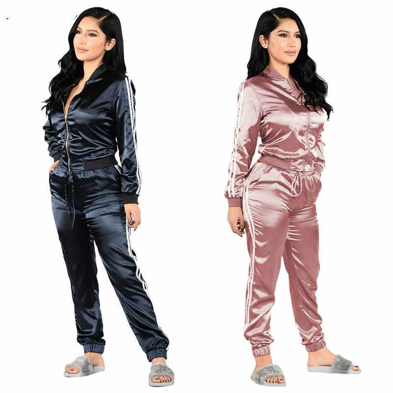 Комплект из двух предметов, женские атласные спортивные костюмы, топ с  длинными рукавами и круглым 9157058f23c