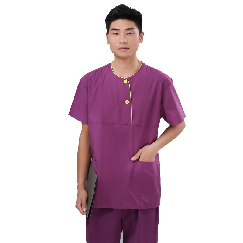 Men Fashion Color Blocking Style Scrubs Set Short Sleeve Round Collar Tops and Pants
